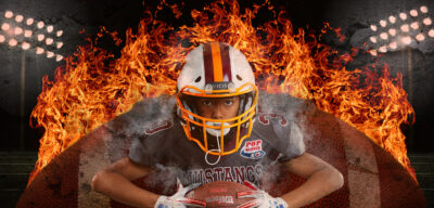Pop Warner Football player with flaming football in the background