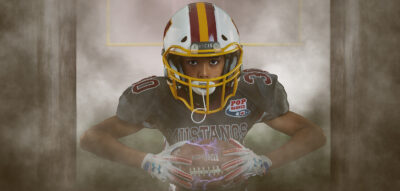 pop warner football player in a football composite portrait in Virginia Beach