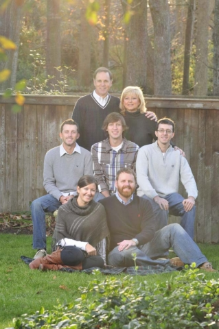 Family portraits in the back yard in Chesapeake Virginia