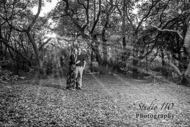 Sunset through the trees in Virginia Beach Virginia engagements