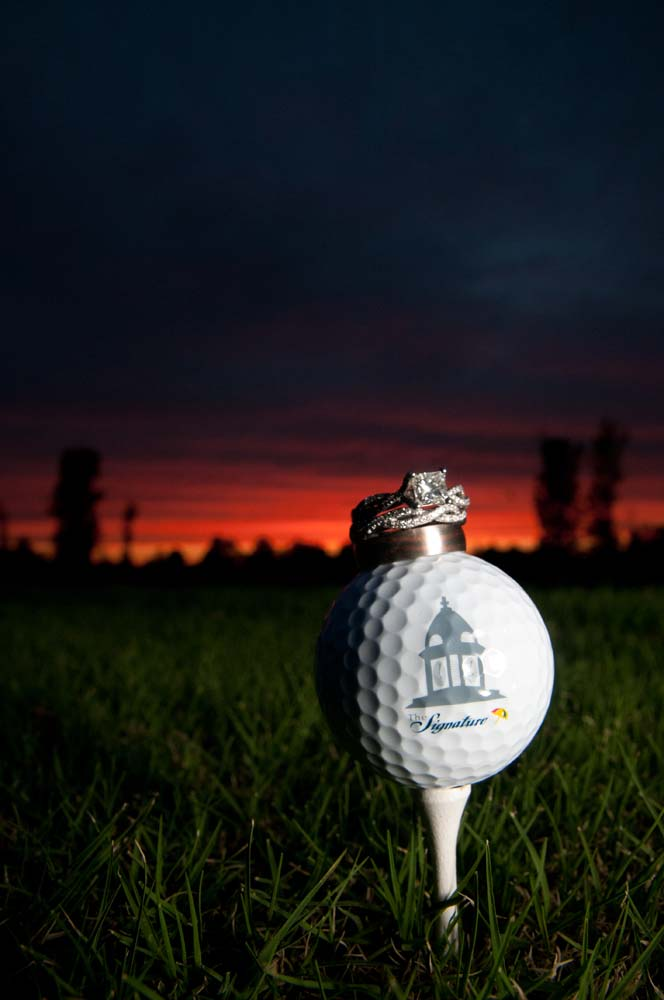Wedding Rings on a golf ball in Virginia Beach Virginia at the Signature