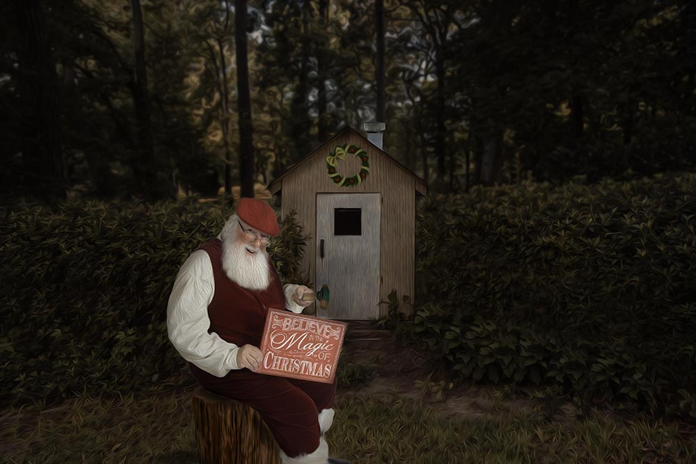 Santa at his summer workshop in Virginia Beach, Virginia Beach Santa Photographer