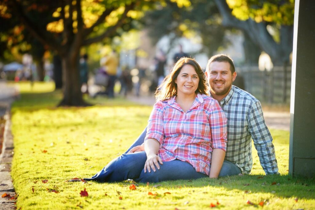 Engagement session on the side of the cobble stone roads in Colonial Williamsburg Virginia