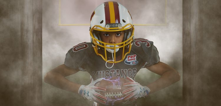 pop warner football player in a football composite portrait in Virginia Beach