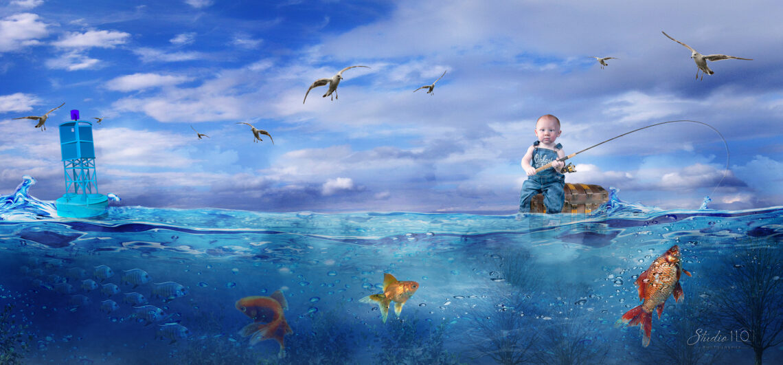First Birthday portrait composite of a boy in the water with goldfish in Virginia beach