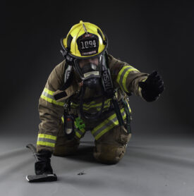 Fire fighter in studio photographed for composite image